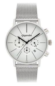 Gigandet Herren-Armbanduhr Minimalism Quarz Chronograph Edelstahlarmband Silber Männer Uhren Edelstahl