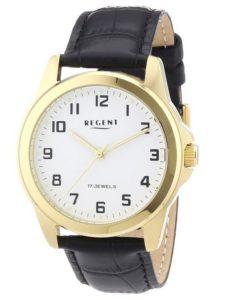 Uhren Handaufzug: Regent Herren-Armbanduhr XL Analog Handaufzug Leder